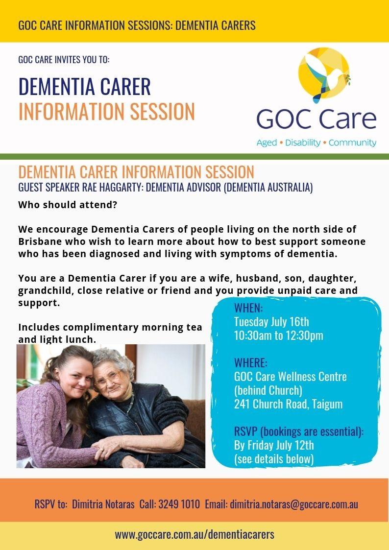 Dementia Carer Information Session Flyer